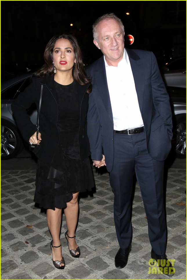 Salma Hayek and Francois-Henri Pinault at Alexander McQueen Fashion Show **USA, Australia, New Zealand ONLY**