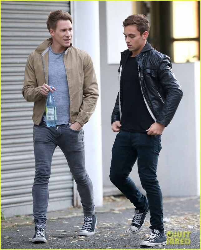 Exclusive... Tom Daley & Dustin Lance Black Spotted Out After Their Engagement