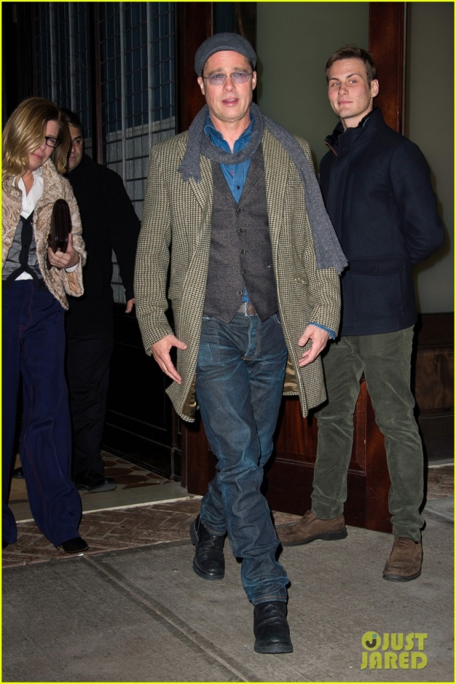 Brad Pitt rocks tweed in downtown Manhattan