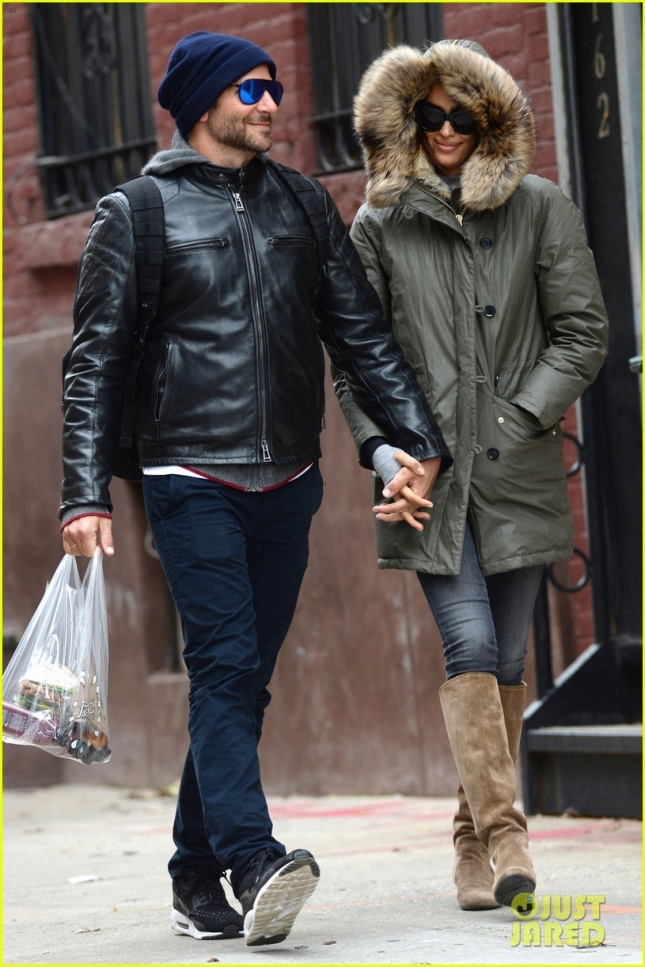 Bradley Cooper and Irina Shayk seen returning to Shayk's residence after shopping together in Manhattan