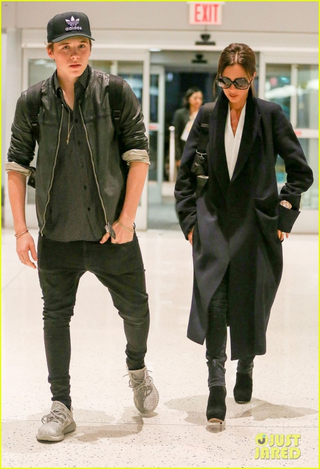 Victoria Beckham & Brooklyn Beckham Departing On A Flight In New York