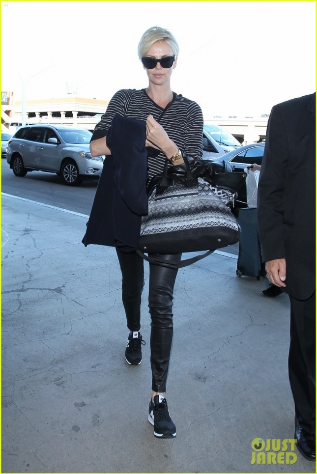 Charlize Theron departs from LAX