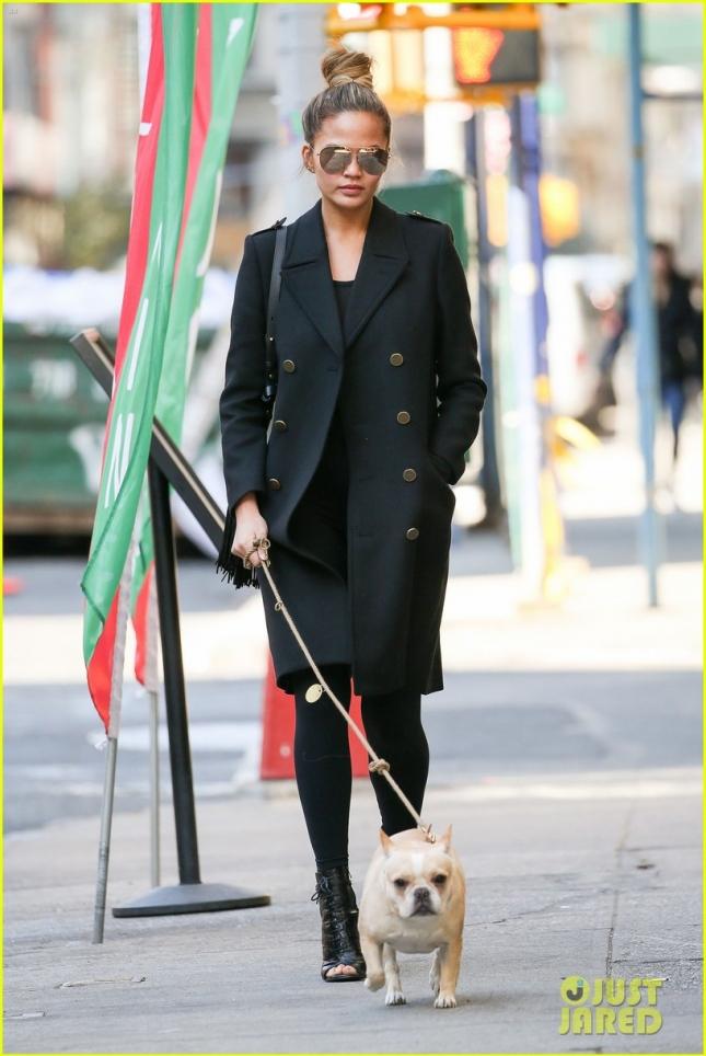 Pregnant Chrissy Teigen Walks Her Dog In New York City