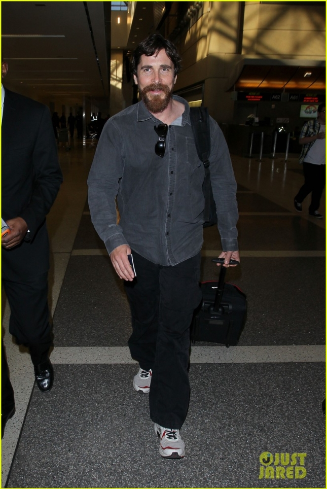 A Shaggy Christian Bale departs from LAX **USA ONLY**