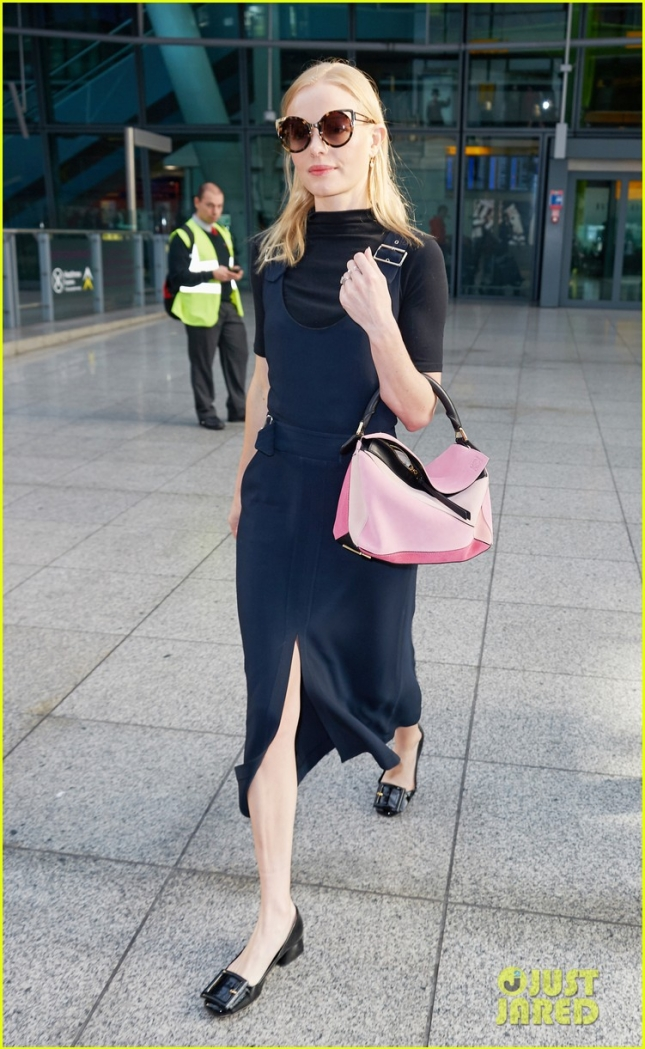 *EXCLUSIVE* A Polished Kate Bosworth arrives in London **USA ONLY**