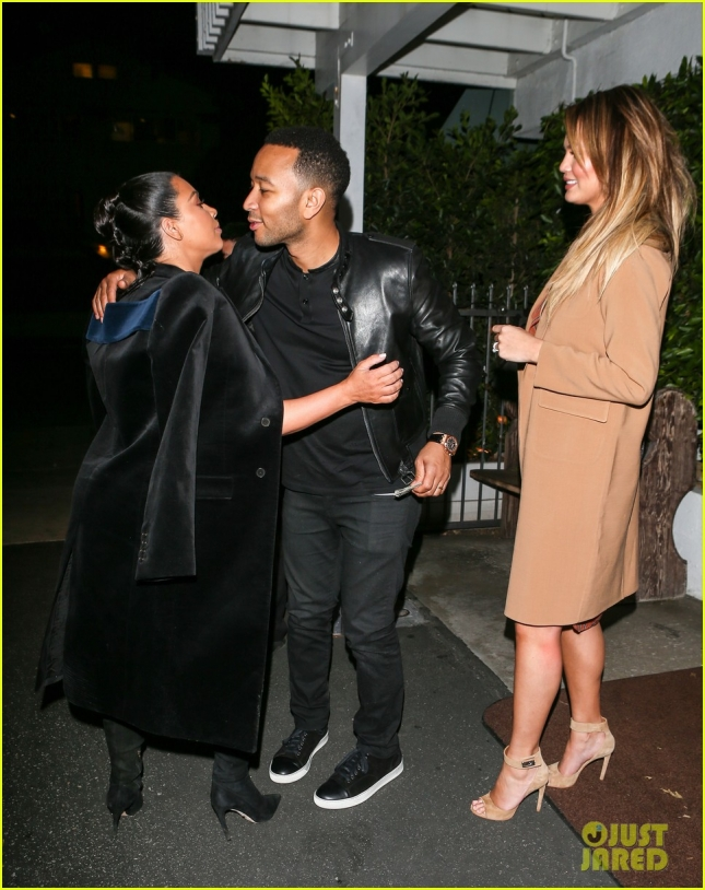 Kim and Kanye go on a double baby bump date with Chrissy Teigen and John Legend