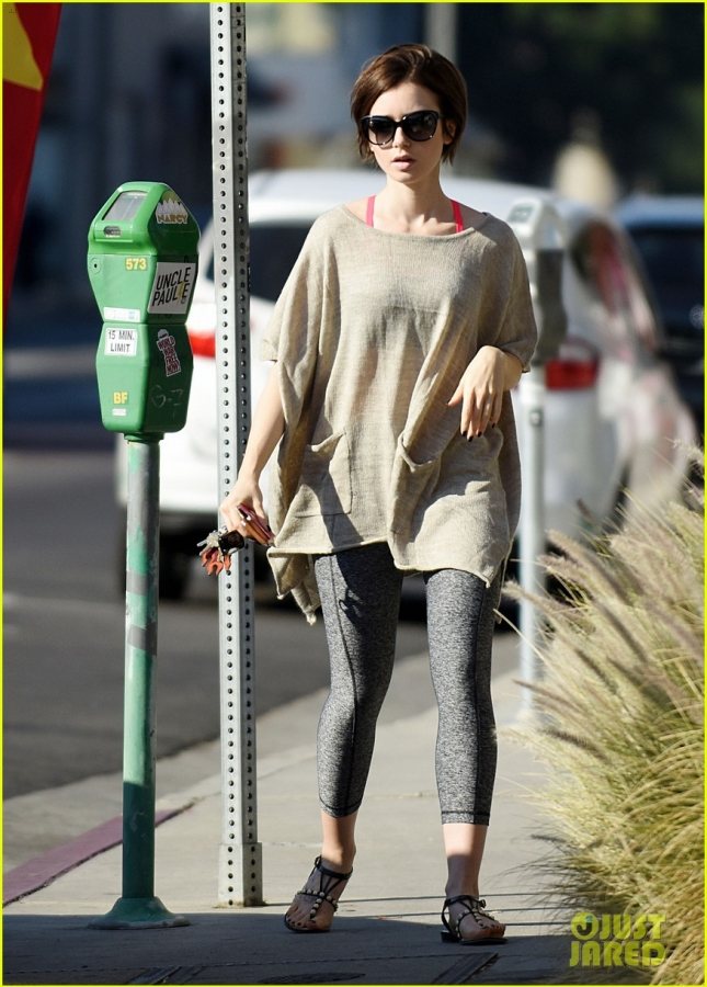 Lily Collins brings her Casual Style to the Dry Cleaners in LA **USA ONLY**