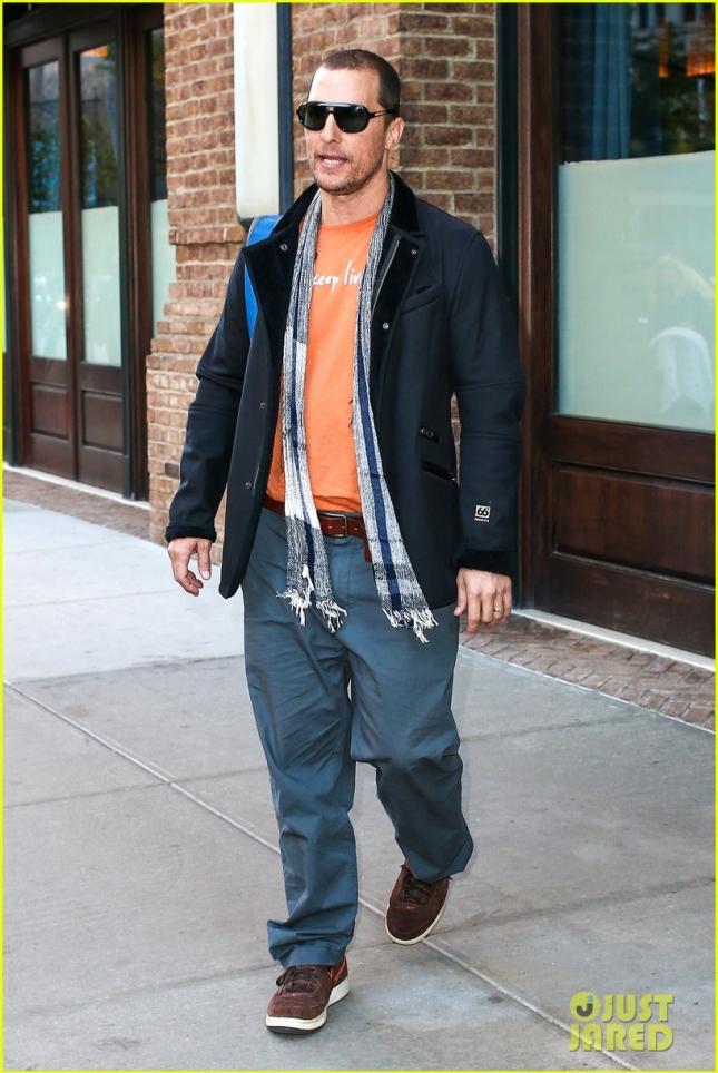 Matthew McConaughey looks casual leaving his hotel
