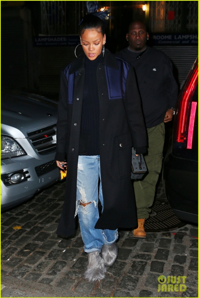 Rihanna heads to the tattoo parlor in furry shoes in NYC