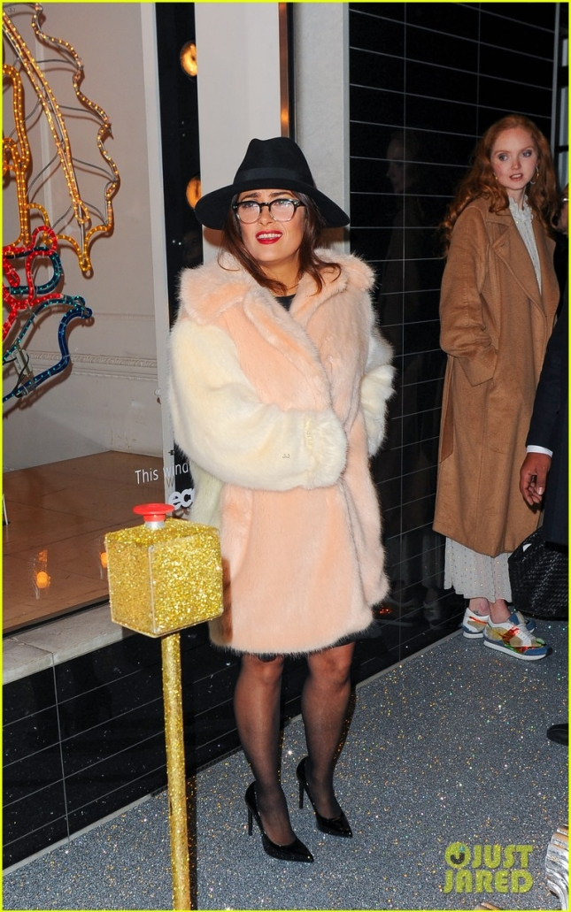 Salma Hayek poses at Stella McCartney Christmas Lights Switch On **USA ONLY**