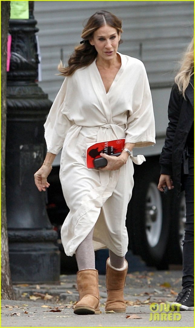 Sarah Jessica Parker seen shooting for the Tv series 'Divorce' in Upper West Side, NYC