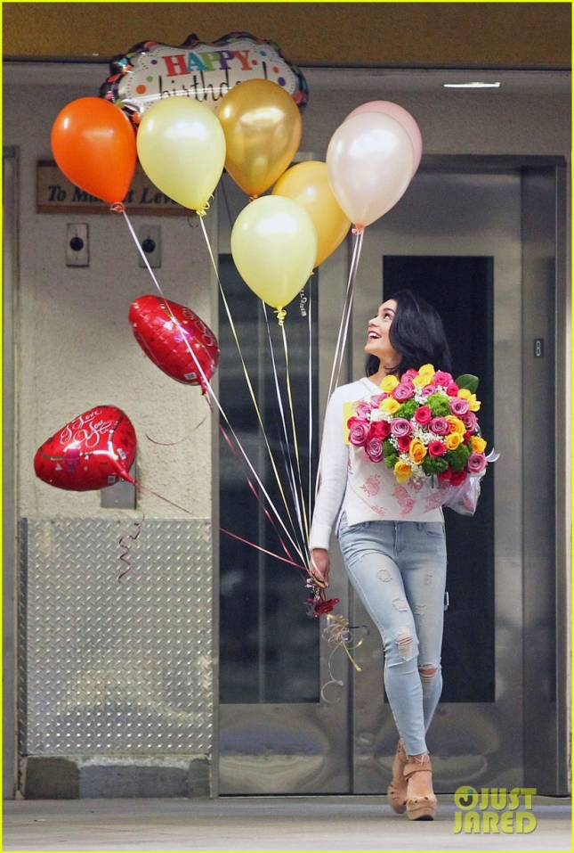 EXCLUSIVE: Vanessa Hudgens buys an assortment of balloons and flowers for her mother's birthday