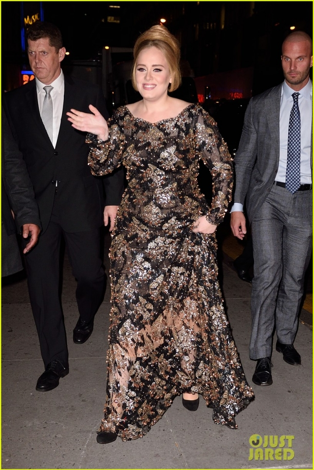 Adele sparkles as she leaves her concert at Radio City Music Hall **USA ONLY**