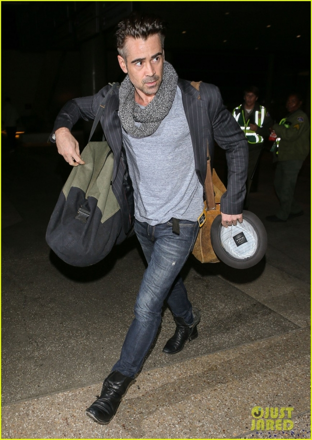 Colin Farrell Arriving On A Flight At LAX