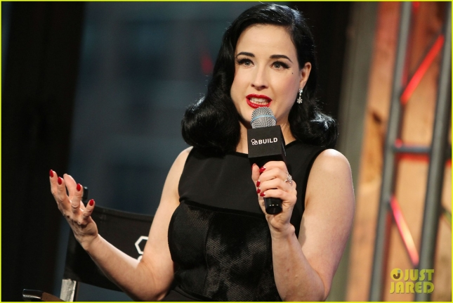 "Dita Von Teese promotes her new book ""Your Beauty Mark"" during a taping of AOL Build"