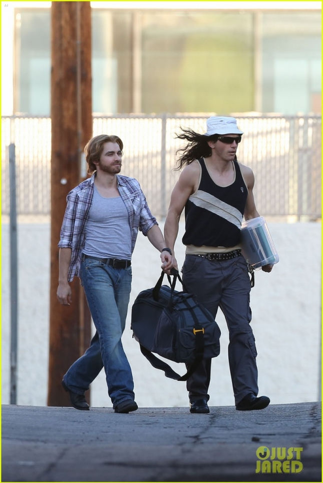 James and Dave Franco seen filming scenes for the movie 'The Disaster Artist' in Los Angeles
