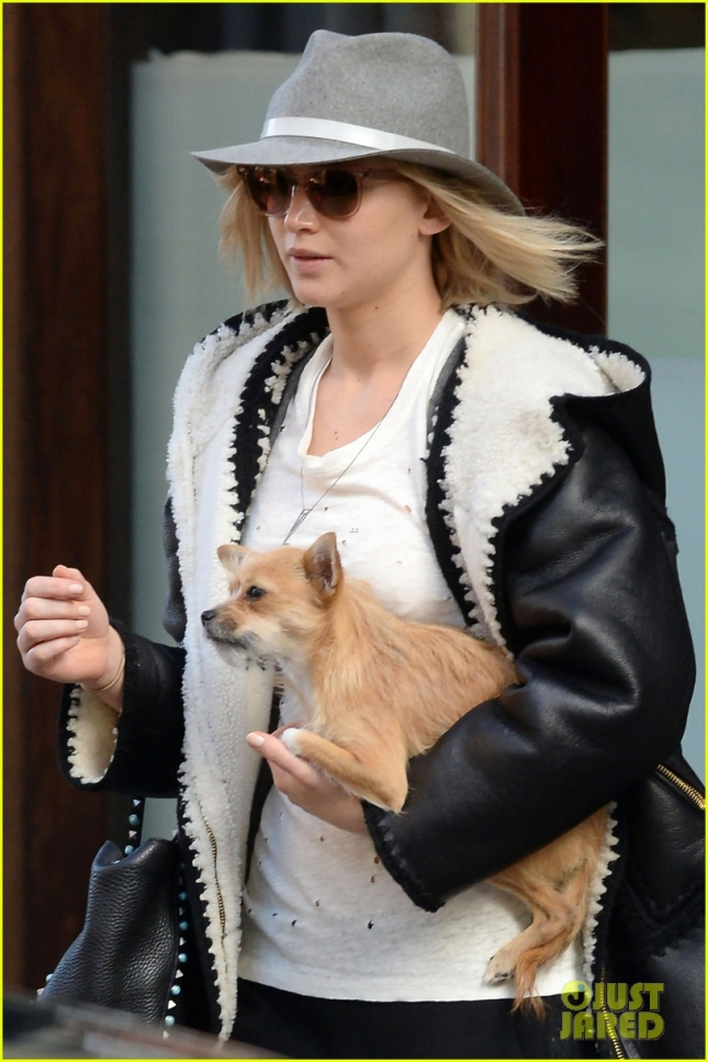 EXCLUSIVE: Jennifer Lawrence checked out of The Greenwich Hotel with her dog Pippi in Tribeca