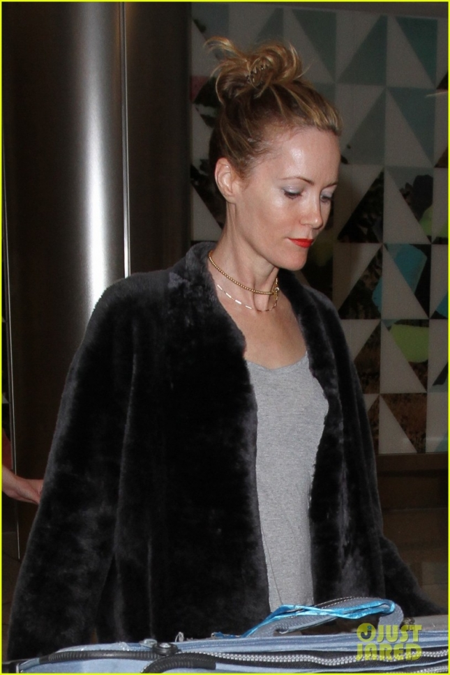 Leslie Mann arrives on a flight to Los Angeles International Airport