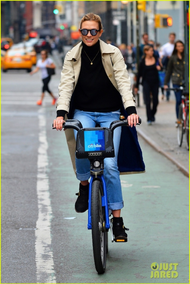 Karlie Kloss Happily Pedals In NYC