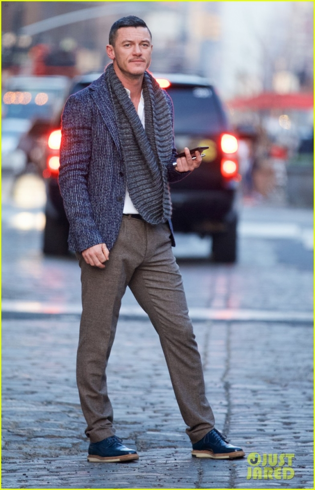 Luke Evans Chats On the Phone in Soho