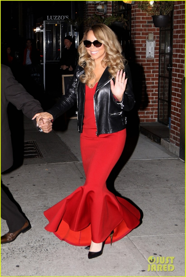 Mariah Carey Wears a Red Mermaid Gown & Black Leather Jacket En Route To Her Beacon Theatre Concert