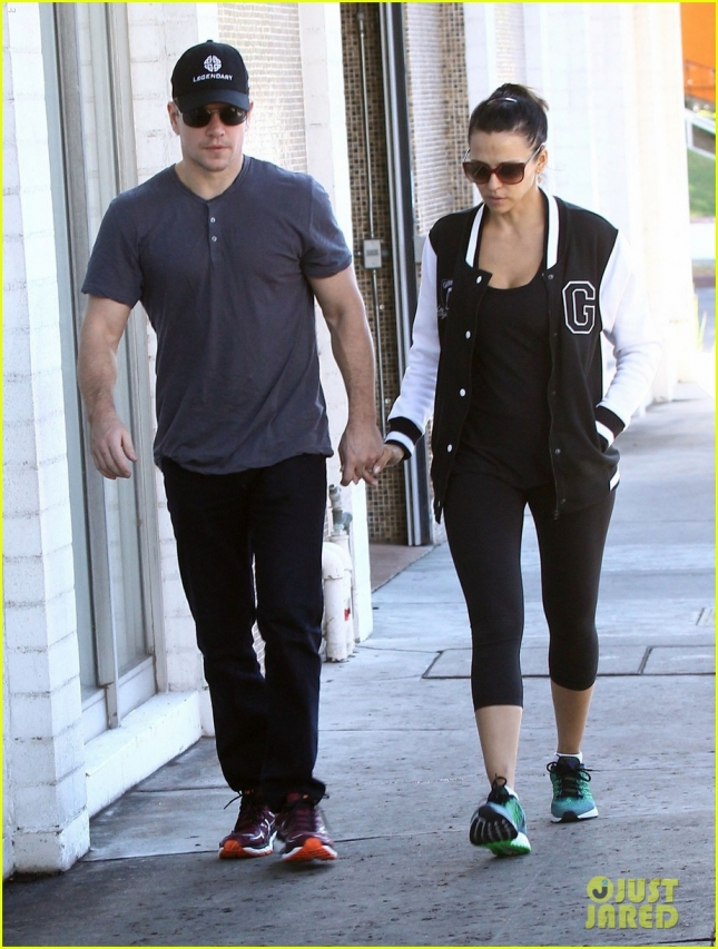Matt Damon and Luciana Barroso leave the gym