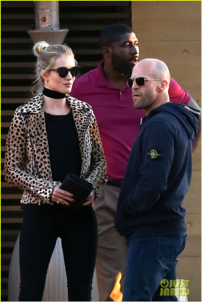 *EXCLUSIVE* Rosie Huntington-Whiteley looks Biker Chic at Nobu with Jason Statham