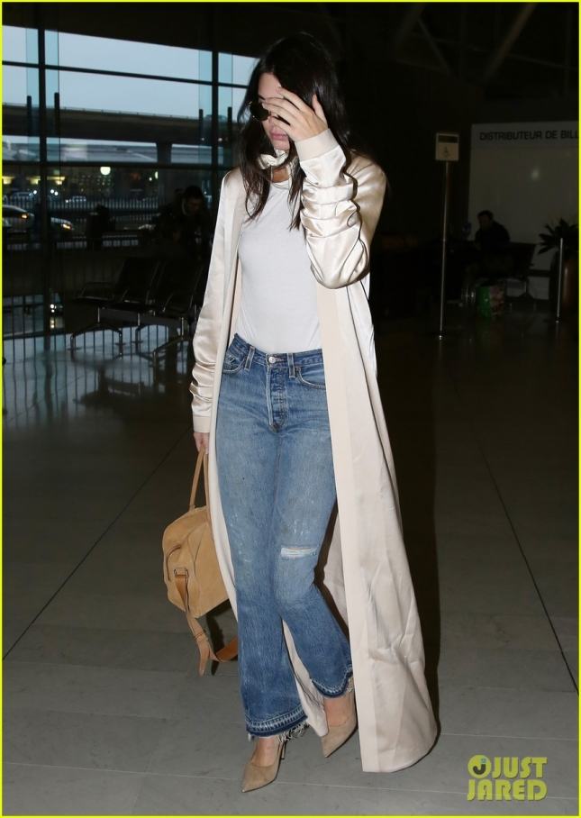 Shy Kendall Jenner Arriving At Charles De Gaulle Airport