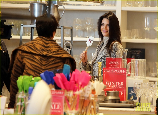 Kendall Jenner & Kris Jenner Film At Williams-Sonoma