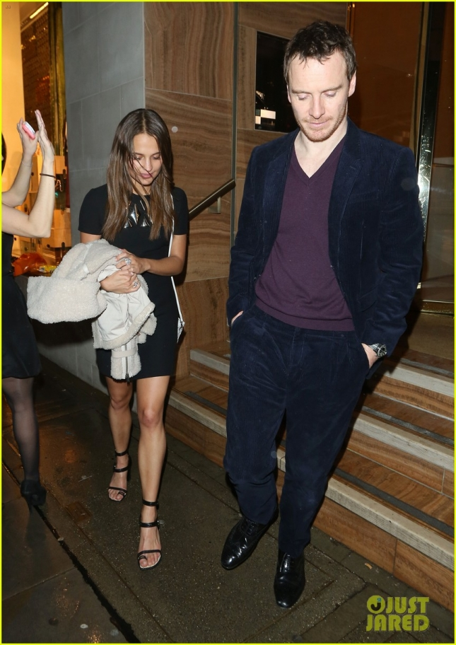 Alicia Vikander and Michael Fassbender leave Louis Vuitton BAFTA diner