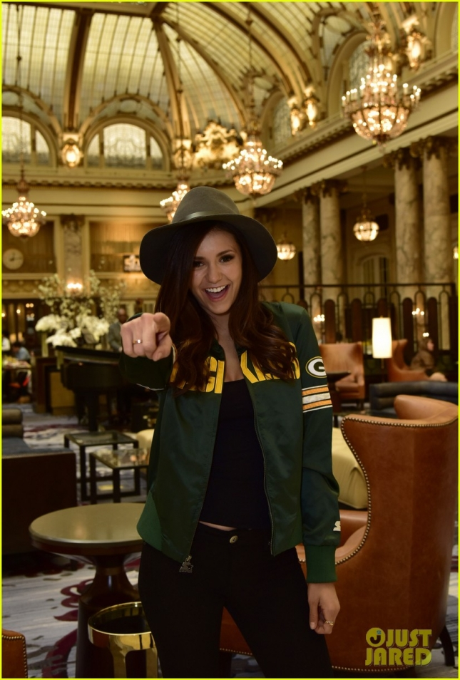 Nina Dobrev Wears Starter Jacket As She Heads To The Big Game